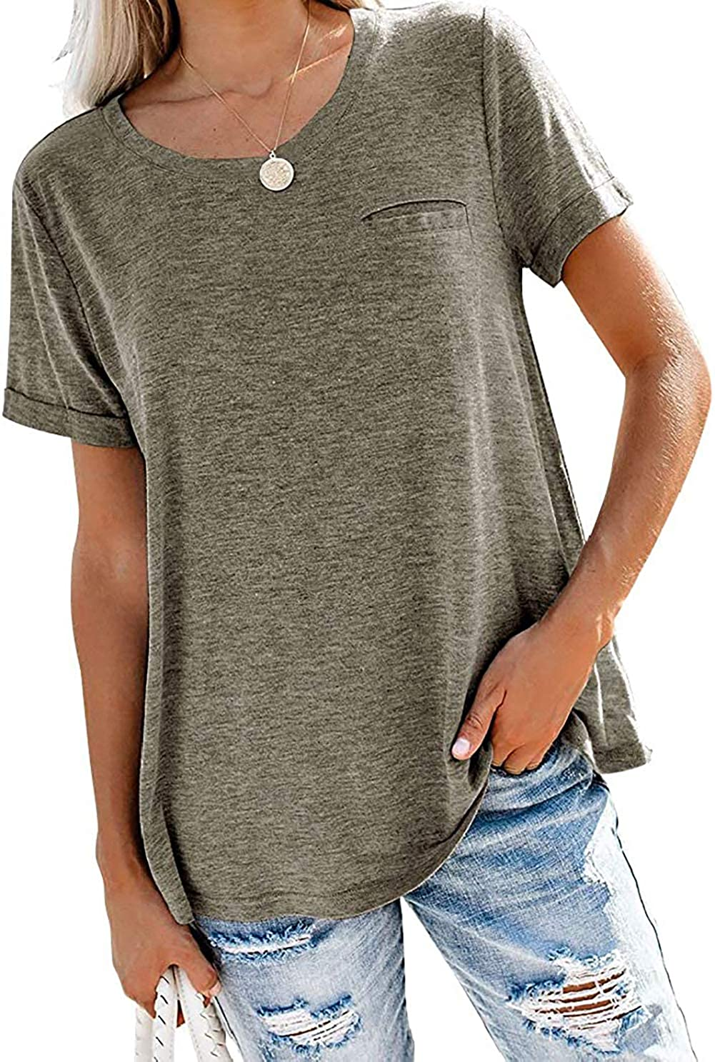 Angerella Womens V Neck T Shirts Roll Up Sleeve Tops Casual Loose Tees with Pocket