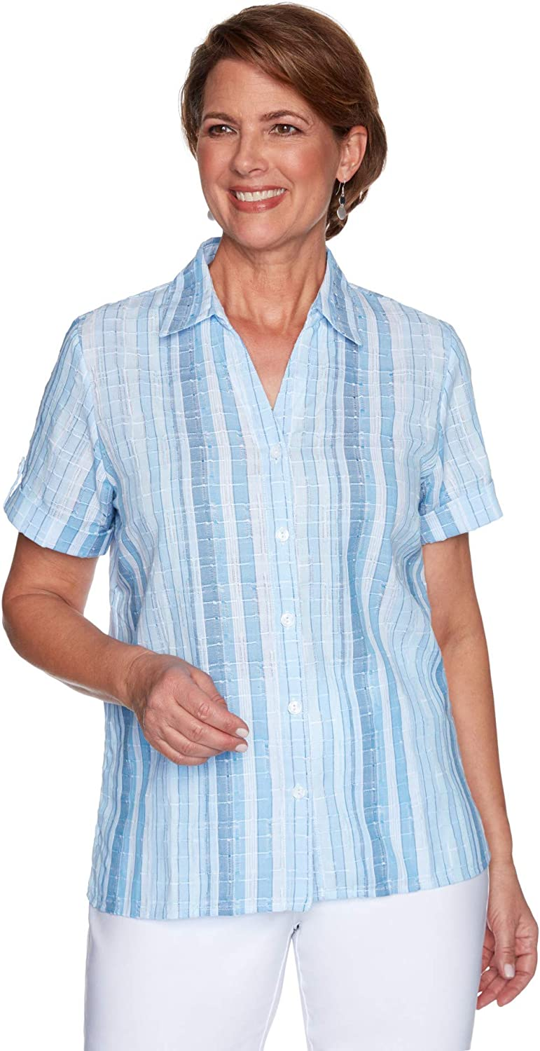 Alfred Dunner Classic Strip Woven Textured Short Sleeve Button Down Cotton/Polyester
