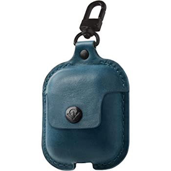 Twelve South AirSnap | Leather Protective Case/Cover with Loss Prevention Clip for AirPods & Wireless Charging Case for AirPods, Deep Teal