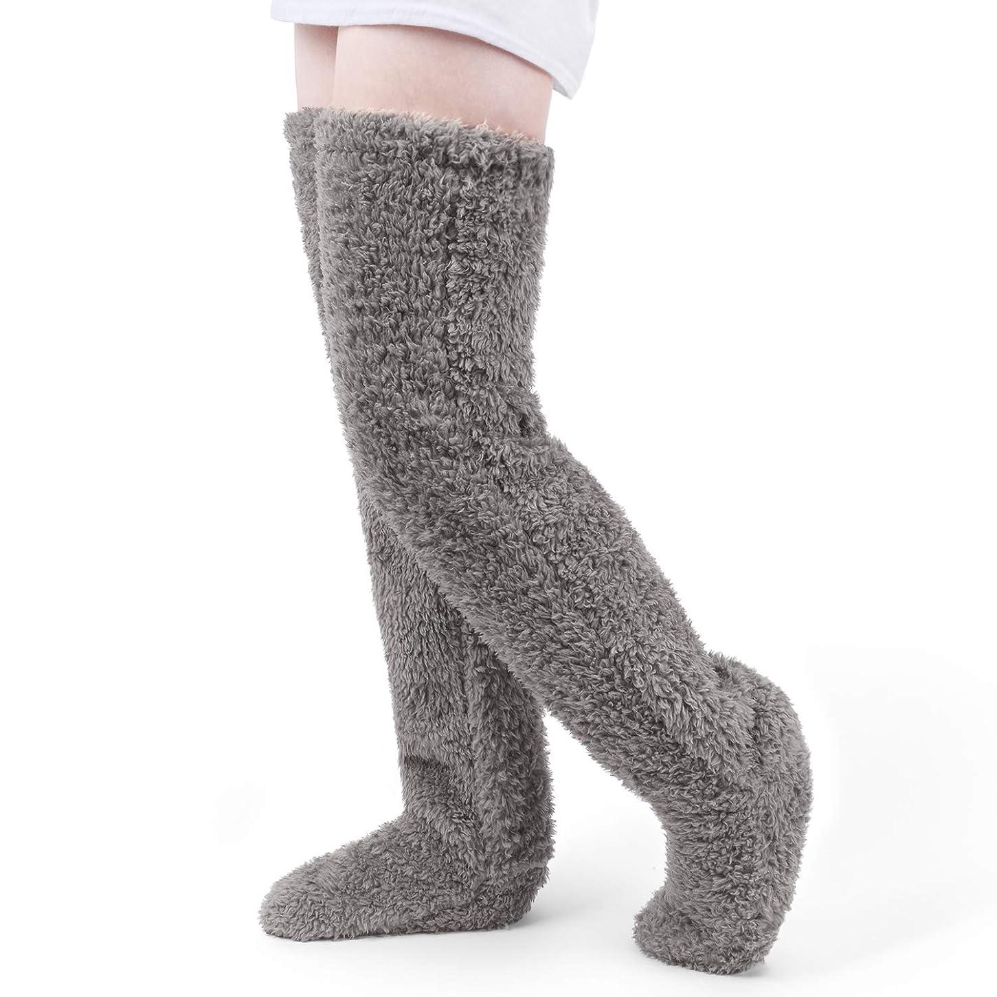 スコア受取人彼女の極暖 足が出せるロングカバー HIMETSUYA ルームシューズ ルームソックス あったかグッズ ロングカバー 冷え性 靴下 ソックス 足の大きさ23~26.5cmまで (グレー)