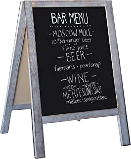Wooden A-Frame Sign with Eraser & Chalk - Magnetic Sidewalk Chalkboard – Sturdy Freestanding Grey Sandwich Board Menu Display for Restaurant, Business or Wedding