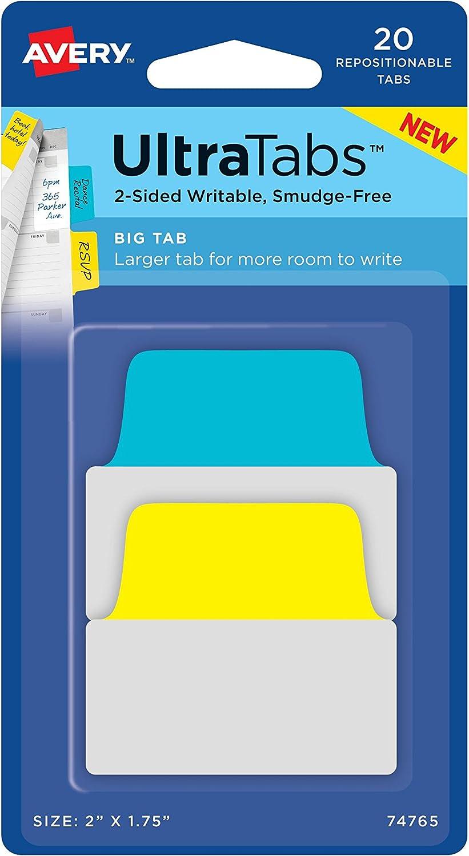 Avery Big Ultra Taben, 5,1 x 4,4 cm 20 wiederverwendbar Taben, two-side beschreibbare, gelb blau (74765) B017HA448Y | Großer Verkauf