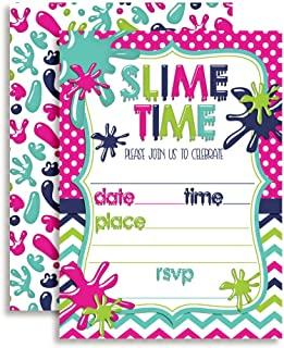 Slime Birthday Party Invitations for Girls, 20 5