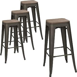 Devoko Metal Bar Stool 30'' Indoor Outdoor Stackable Barstools Modern Industrial Square Wood Top Bar Stools Set of 4 (Gun)