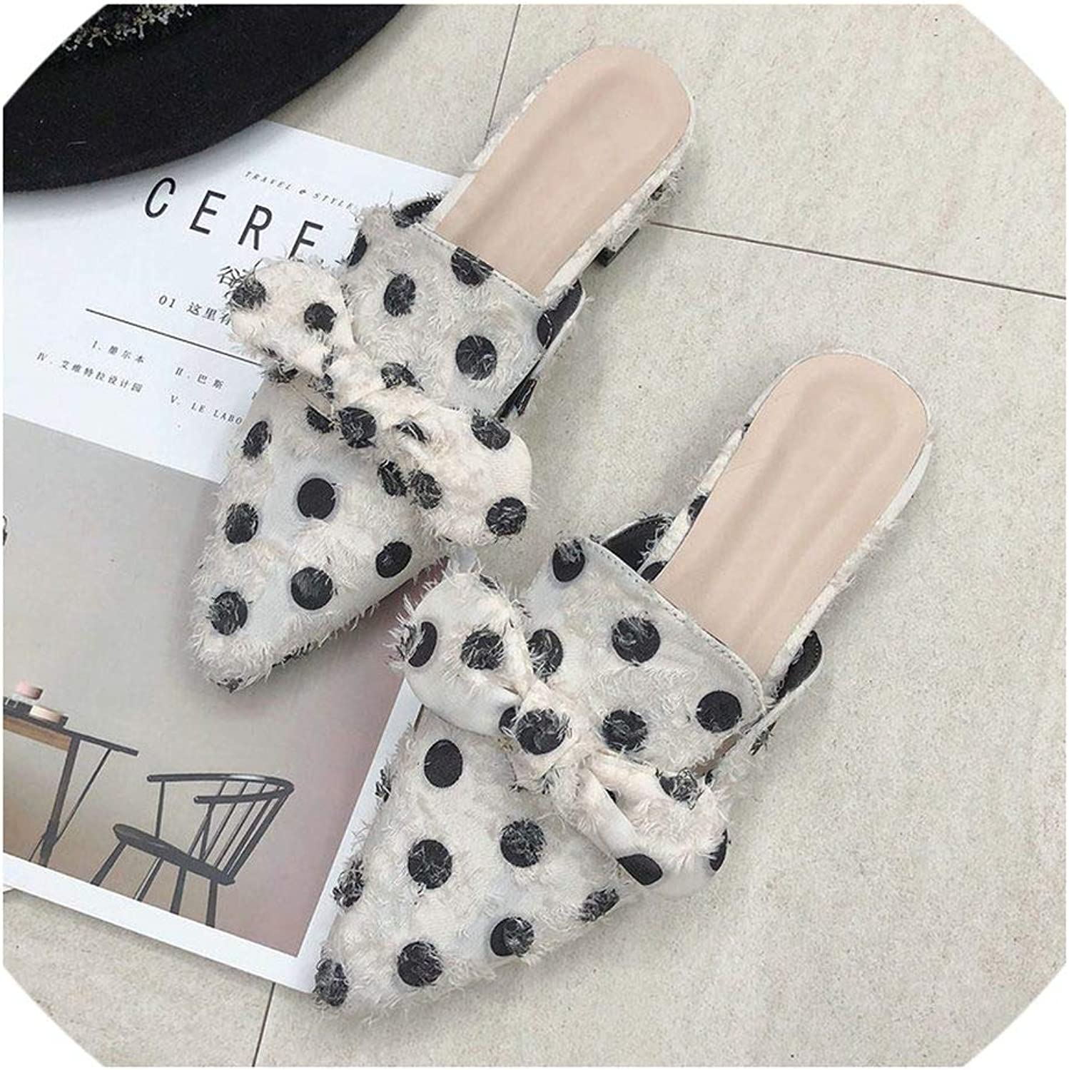 New Dot Bow Slippers Women Flat Mules shoes Sexy Pointed Toe Slip-on Slides Sandals