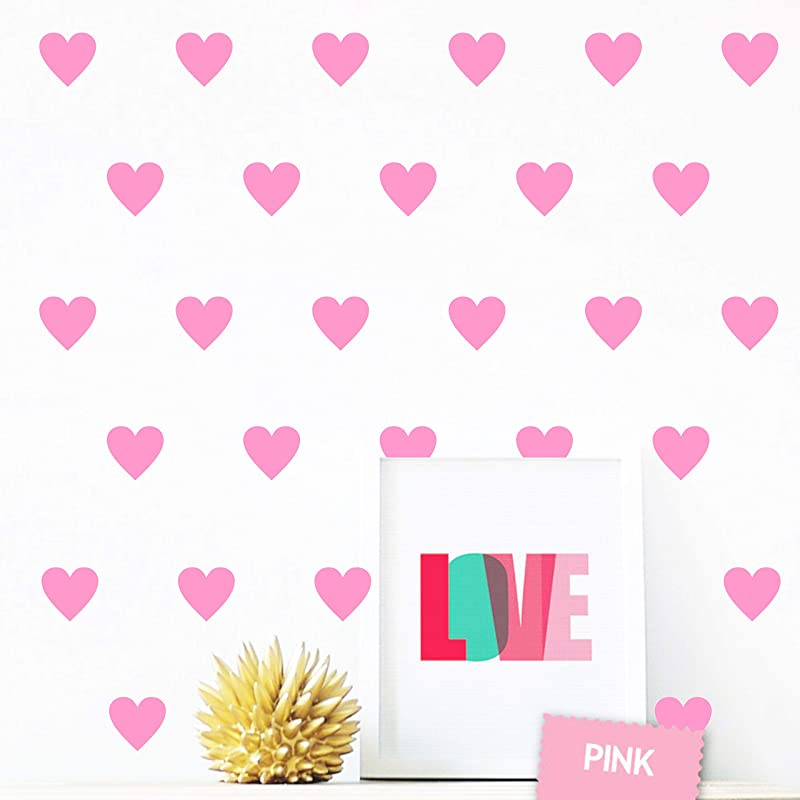 2inchx100 Pieces DIY Heart Removable Wall Stickers Vinyl Stickers For Kids Baby Bedroom Nursery Wall Decal A01 Large Soft Pink