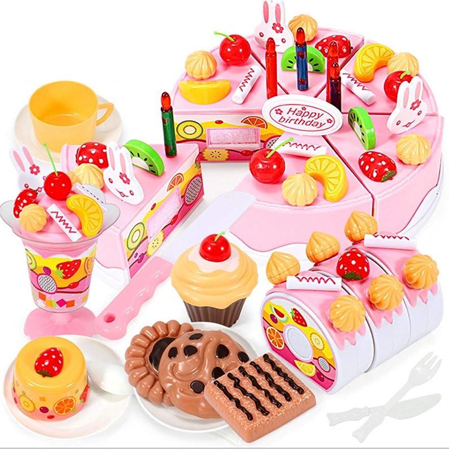 慢許さない荒らすSaikogoods プラスチック製のベビーキッチンおもちゃケーキ食品子供たちのおもちゃ木製フルーツ調理玩具プレイ切削ふりプレイ 多色