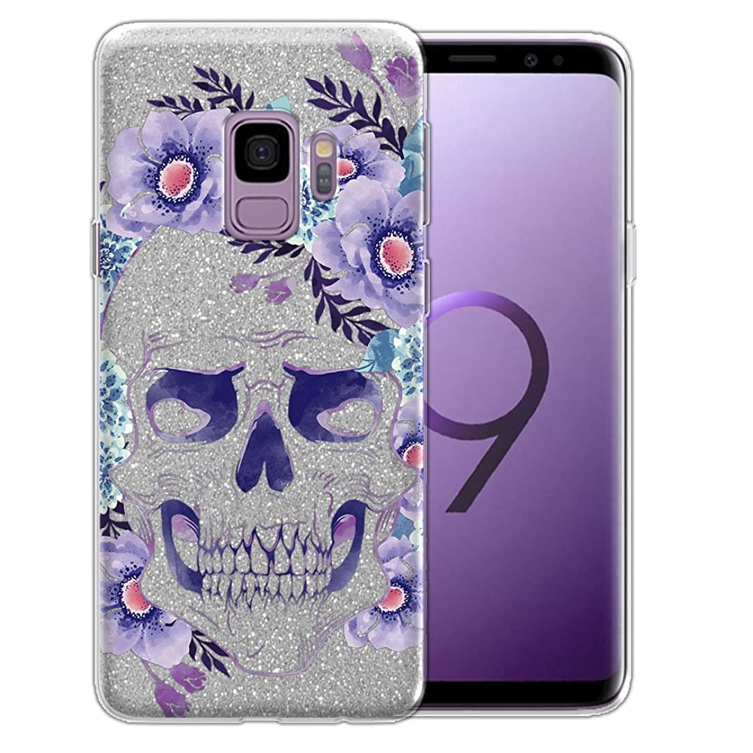 FINCIBO Case Compatible with Samsung Galaxy S9 5.8 inch, Shiny Sparkling Silver Bling Glitter TPU Protector Cover Case for Galaxy S9 (NOT FIT S9 Plus) - Teal Purple Skull Flowers