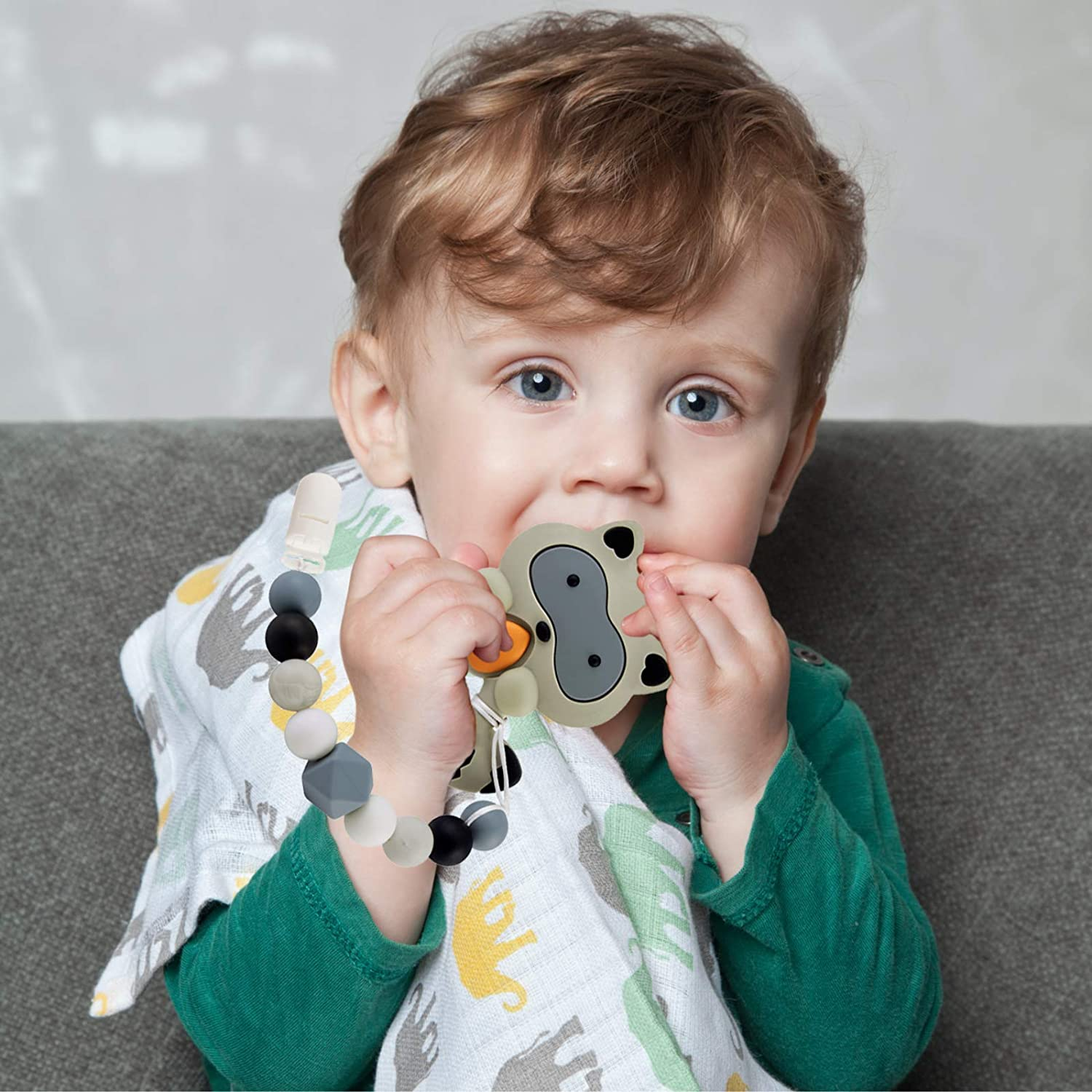 Gray Raccoon Design for Boys and Girls Silicone Teethers with Relief Beads Binky Holder and Pacifier Clips Baby Teething Toys for 0-6 6-12 Months Babies