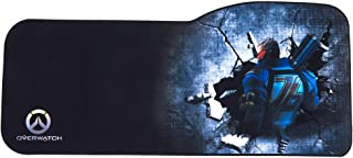 Professional Gaming Mouse Pad Curved Extended Size Large Computer Laptop Keyboard Desk Mat Waterproof Mousepad with Stitched Edges Anti Slip Rubber Base for School Office Home (Overwatch Soldier)