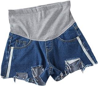 kewing maternità Jeans Shorts per Donne Incinte - Casuale Sciolto Addominale Gravidanza Buco strappato Pantaloncini di Jea...