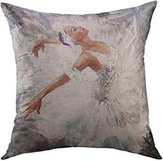 Mugod Decorative Throw Pillow Cover for Couch Sofa,Gray Ballet Oil Painting Girl Ballerina Drawn Cute Dancing Dance Home Decor Pillow case 18x18 Inch