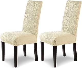 comprar comparacion SCHEFFLER-Home Jara 2 Fundas de sillas, Estirable Cubiertas, Moderna extraíble flexibel Funda con Banda elástica, Marfil