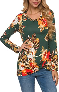 Women's Casual Floral Long Sleeve Twist Knotted Tops Blouse Tunic T Shirt