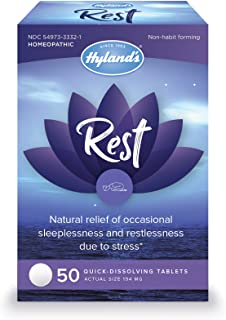 Natural Sleep Aid Pills, Rest by Hyland's, Insomnia and Stress Relief Supplement, 50 Quick-Dissolving Tablets