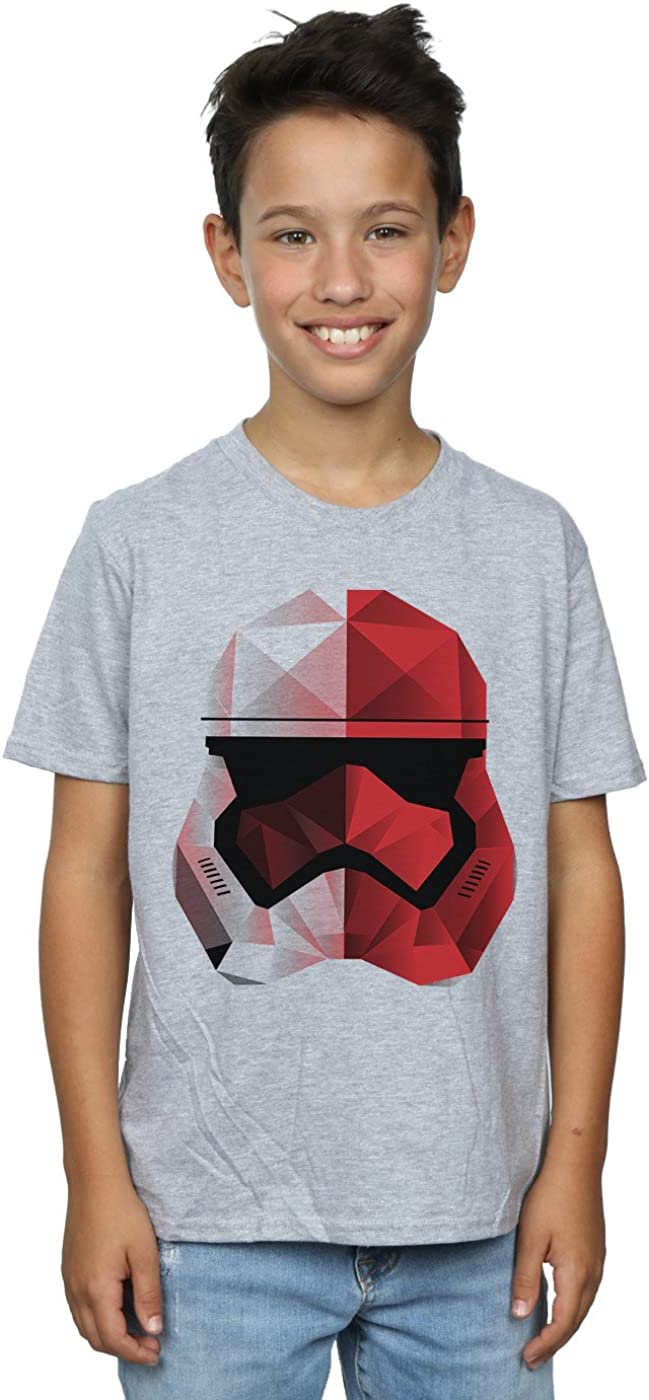 STAR WARS Boys The Last Jedi Stormtrooper Red Cubist Helmet T-Shirt 9-11 Years Sport Grey