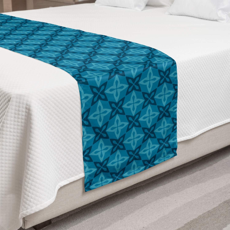 Lunarable OFFicial store Import Flower Bed Runner Moroccan Design Flowers B Geometric