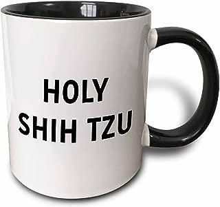 3dRose 235304_4 Holy Shih Tzu Ceramic Mug, 11oz, Black/White