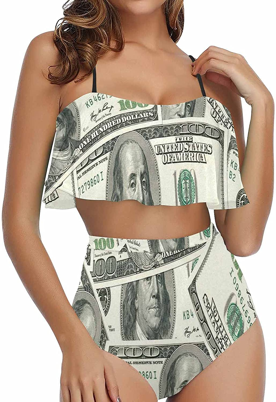 InterestPrint Christmas Angels with Evergreen Tree Women's Bikini Ruffle Two Piece Bathing Suits Flounce Swimwear
