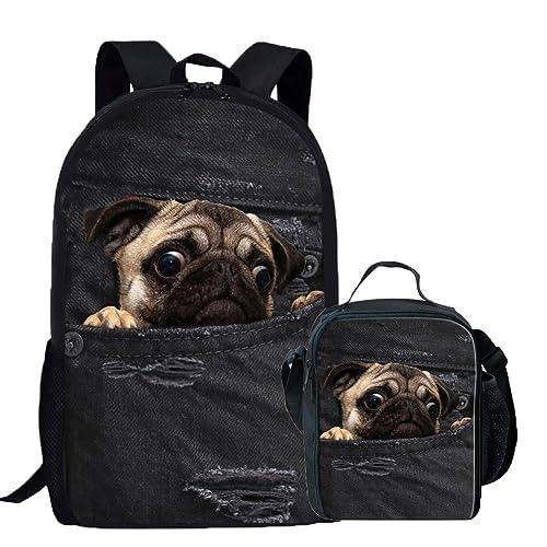 Coloranimal Denim 3D Bulldog Printed Children School Bag with Lunch Bag 2PCS  Set 3f69787f70a7f