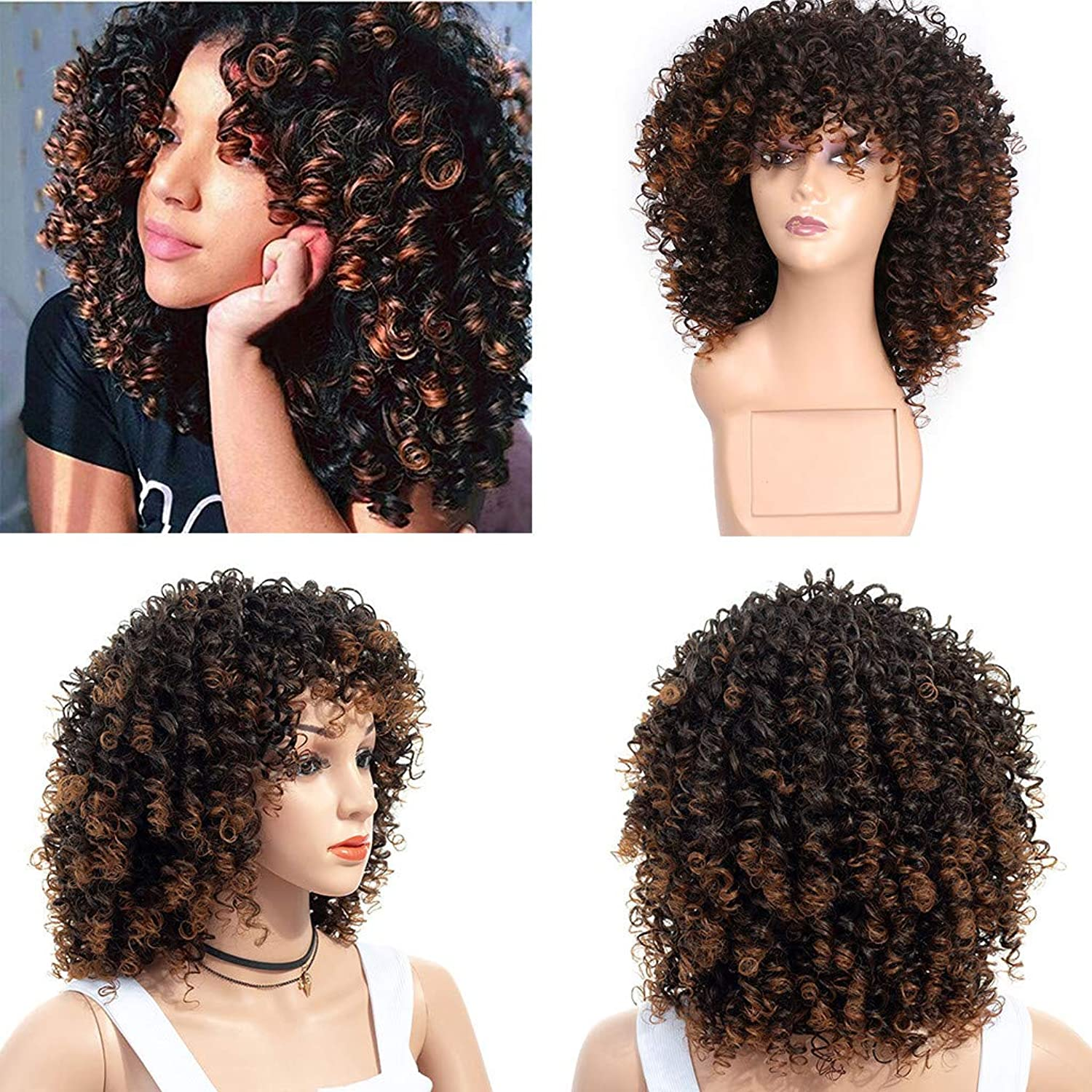 FORUU Wigs, 2019 Valentine's Day Surprise Best Gift For Girlfriend Lover Wife Party Under 5 Free delivery hort Afro Curly Mix Gray Hair Wig with Bangs Synthetic New Arrival Cheap Wigs