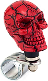 Thruifo Skull Car Grip Knob Steering Wheel Suicide Spinner, Small Teeth Devil Style Car Power Handle Knobs Fit Most Manual Automatic Vehicles, Red Pattern