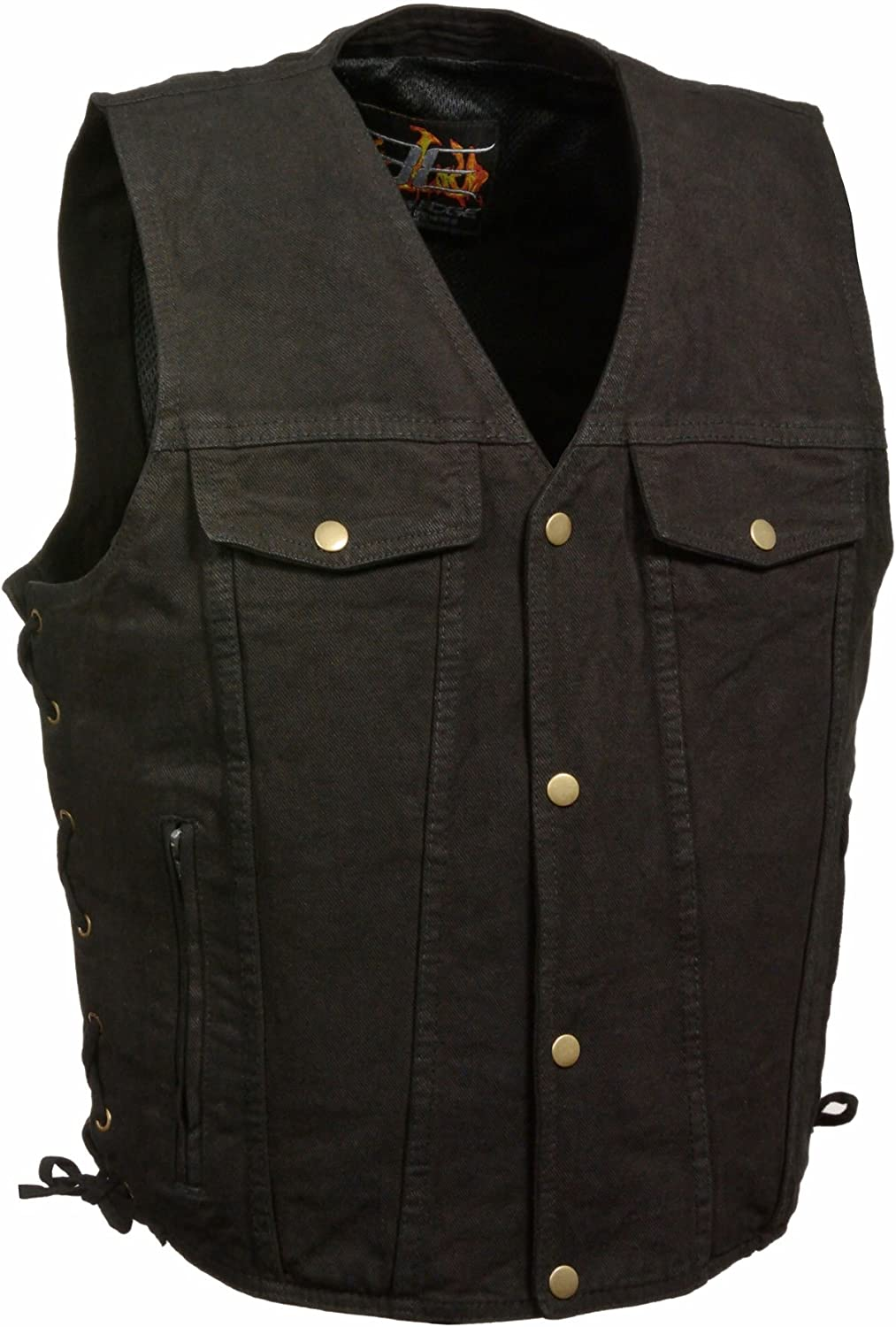 Milwaukee Easy-to-use Leather Men's Side Save money Lace Denim w Bl Vest Pockets Chest