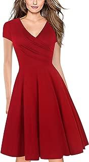 Women's Criss-Cross V-Neck Cap Half Sleeve Floral Casual Work Party Tea Swing Dress OX233