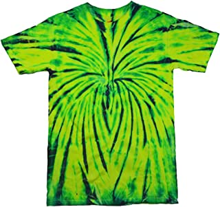 Tie Dye T-Shirts Multicolor Yellow Green Spider, 100% Cotton, Adult, Short Sleeve