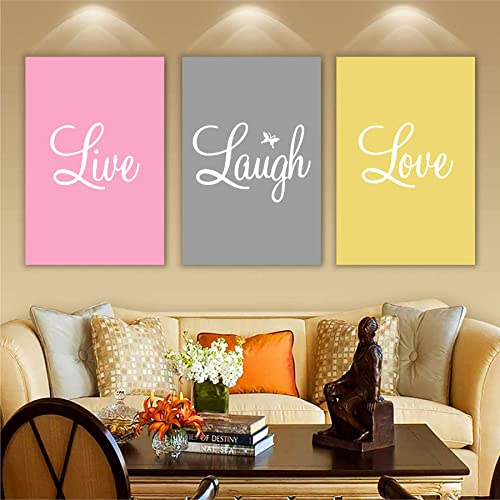 Wall Attraction Live Laugh Love MDF Framed Painting for Home Decoration Gifting 3D Unique 12 inch x 18 inch Each Frame Size Set of 3 Water Proof Wall Hanging