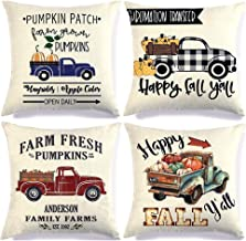 PTKSZGT Fall Pumpkin Truck Decor Throw Pillow Covers for Autumn Thanksgiving Harvest Buffalo Plaid Linen Cushion Case for 18x18 Inch Sofa Couch Set of 4 (S1)