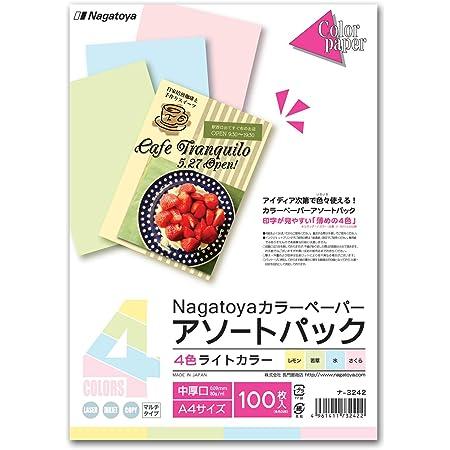 長門屋商店 カラーペーパー ナ-3242 A4中厚口100枚ライトカラー 4色込