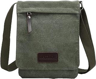 Berchirly Small Vintage Canvas Leather Messenger Crossbody Bag Pack Organizer