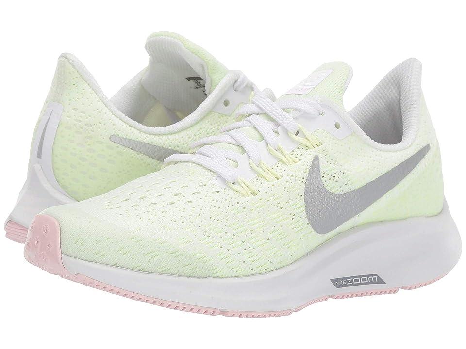 Nike Kids Air Zoom Pegasus 35 (Little Kid/Big Kid) (White/Metallic Silver/Barely Volt) Girls Shoes