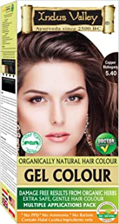 Indus Valley Permanent Gel Copper Mahogany 5.4 Hair Color For Greying Hair- Long Lasting Hair Color