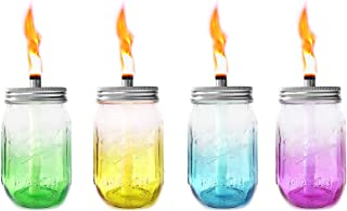 Mason Jar Tabletop Torches,4 Pack Colorful Glass Jar,Stainless Steel Lids,Long Life Fiberglass Wicks and Caps,Outdoor Oil Lamp Lights for Patio Garden Camping Decor