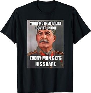 ロシアのミーム ヨーゼフ・スターリン ソビエト連邦の母ジョーク Tシャツ