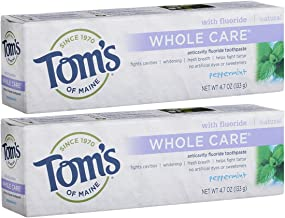 Tom's of Maine Whole Care Fluoride Toothpaste, Natural Toothpaste, Whitening Toothpaste, Peppermint, 4.7 Ounce, 2-Pack