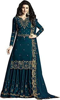 RJ FASHION Women's Faux Gerogette Embroidered Sharara Salwar Suit With Duppata Semi-Stitched Material