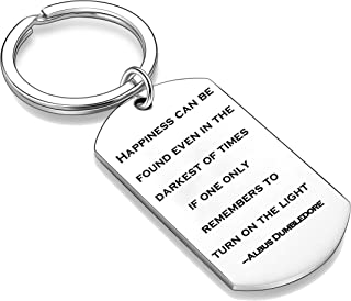 Nimteve Inspiration Charm Motivational Keychain Happiness Can Be Found Even in The Darkest of Times