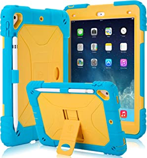 Kids Case for iPad 9.7 2018/2017 Case Heavy Duty with Apple Pencil Holder & Kickstand Full Body Protective Hybrid Silicone Cover Shockproof for iPad 9.7 5th / 6th Generation (Light Blue/Yellow)
