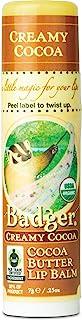 Badger - Cocoa Butter Lip Balm, Creamy Cocoa, Certified Organic Lip Balm, Fair Trade, Natural Lip Balm, Lip Butter, Lip Ba...