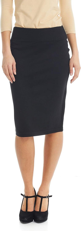 ESTEEZ Women's Straight Ponte Stretch Below Knee Office Midi Skirt - Sophia
