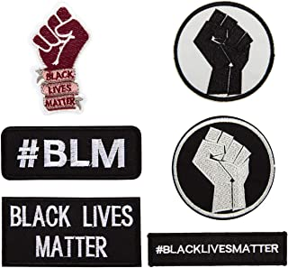 6 Pcs Black Lives Matter Iron On Patches-Fist Up Sew On Patch Applique Patch Decoration Patch for Jeans, Jacket, Clothing ...