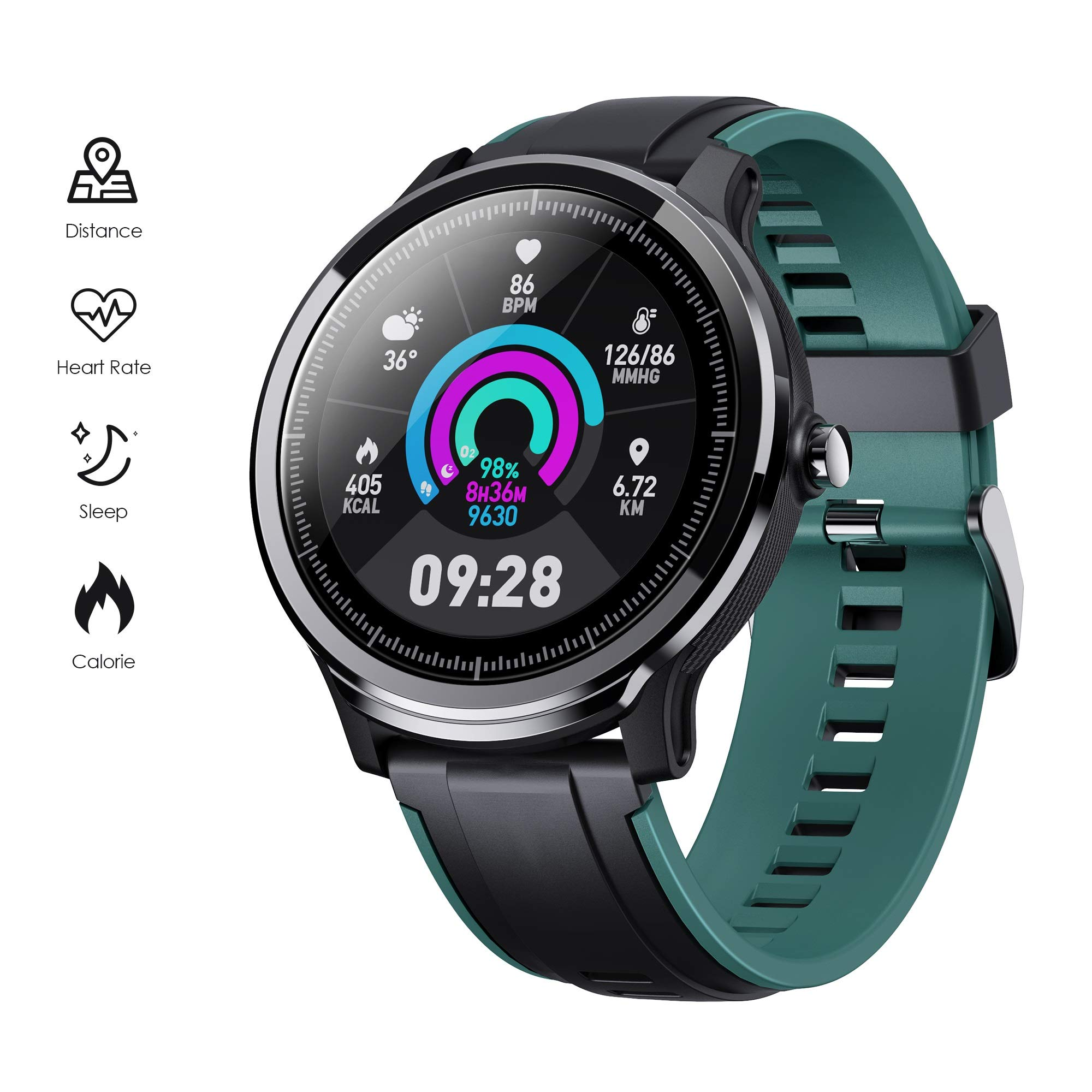 GOKOO Waterproof Smartwatch Breathing Black Green