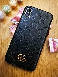 iPhone Xs Case, Black Premium PU Luxury Stylish Designer Fashion Leather Cover Case for iPhone X & Xs Black