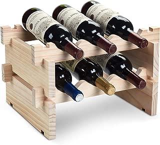 DEFWAY Wood Home Wine Rack – Stackable Storage Wine Holder 6 Bottle Display Free Standing Natural Wooden Shelf for Bar Kitchen (2-Tier Natural Wood)