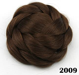 Synthetic Scrunchie Hair Chignon Bun Donut Straight Updo Braided Hairpieces Clip in Hair Large Size Bun Party Wedding Cosplay Extensions (Black Brown/Auburn Brown)