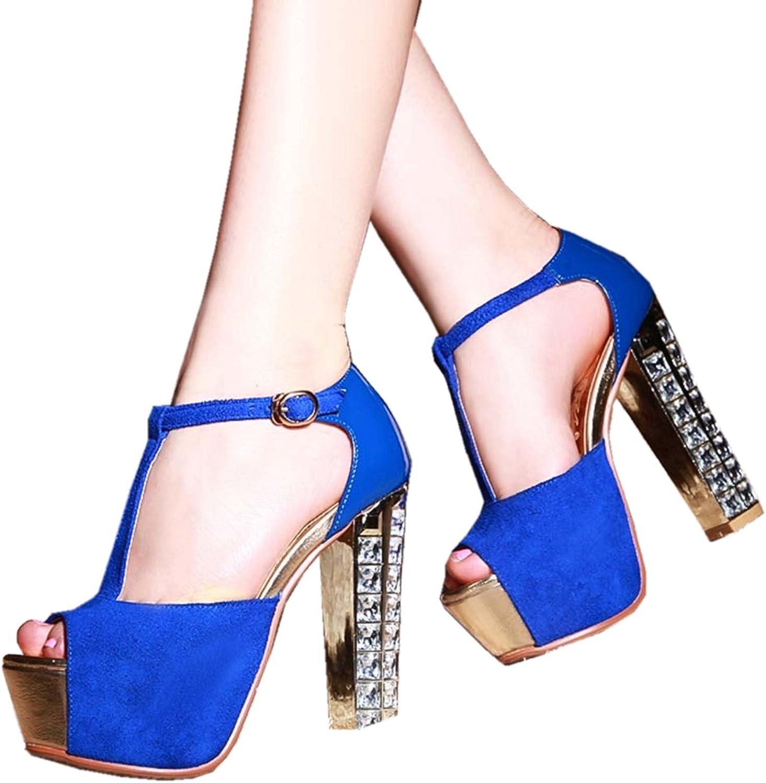 DoraTasia Women's Summer Fashion Casual Open Toe High Heel T-Strap Sandals
