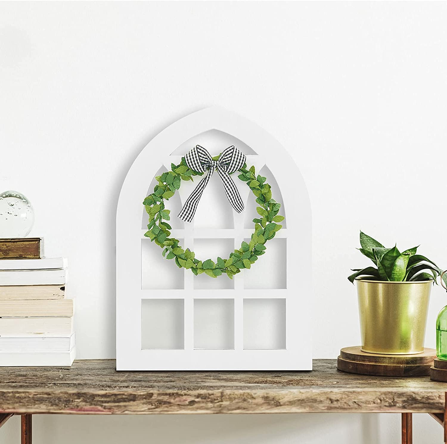 2 Pack Window Frame Wall Decor Wooden Farmhouse Window Tiered Tray Decoration Rustic White Wood Window Pane Country Farmhouse Decorations(11X15.8 inches, Arched)